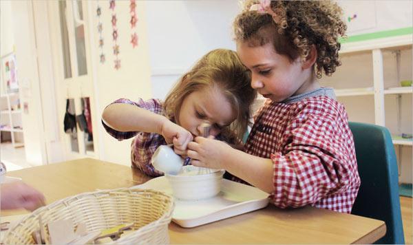 Nursery children outdoors